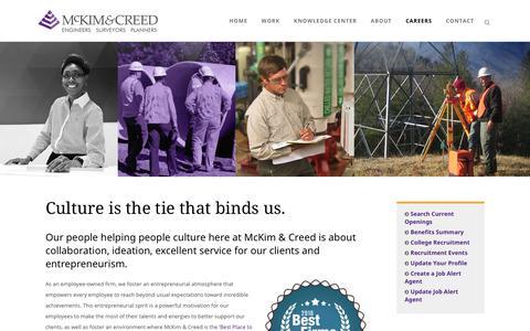 Screenshot of Jobs Page mckimcreed.com - Careers | McKim & Creed - captured May 27, 2017