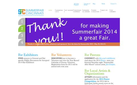 Screenshot of Home Page summerfair.org - Summerfair Cincinnati | Supporting and Promoting Artists and the Arts Year-Round - captured Oct. 6, 2014