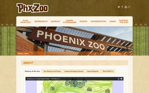 Screenshot of About Page phoenixzoo.org - About - Phoenix Zoo - captured Sept. 18, 2014