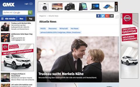Screenshot of Press Page gmx.net - Aktuelle Nachrichten aus Politik, Wirtschaft & Panorama - captured Feb. 18, 2017