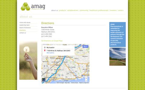 Screenshot of Maps & Directions Page amagpharma.com - Directions | AMAG Pharmaceuticals - captured Oct. 4, 2014