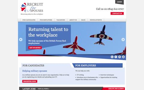 Screenshot of Home Page recruitforspouses.co.uk - We help spouses of the British Armed Forces - Recruit for Spouses - captured Oct. 7, 2014