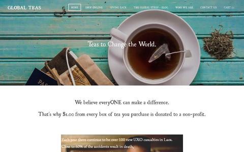 Screenshot of Home Page globalteas.org - Global Teas - Teas to Change the World - captured Dec. 10, 2015