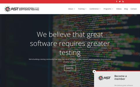 Screenshot of Home Page associationforsoftwaretesting.org - Association for Software Testing | Software Testing Professional Association - captured July 30, 2018