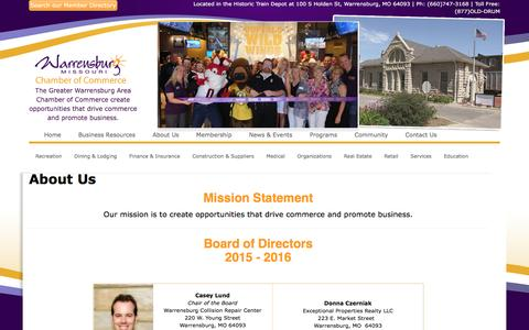Screenshot of About Page warrensburg.org - Warrensburg Chamber of Commerce - captured April 18, 2016