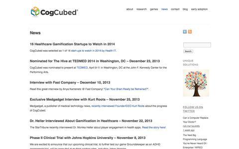 Screenshot of Press Page cogcubed.com - News   CogCubed - captured Sept. 30, 2014