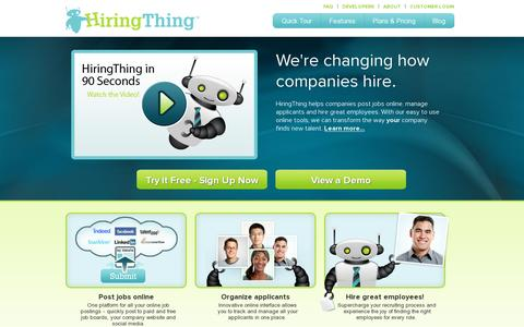 Screenshot of Home Page hiringthing.com - HiringThing - captured July 11, 2014