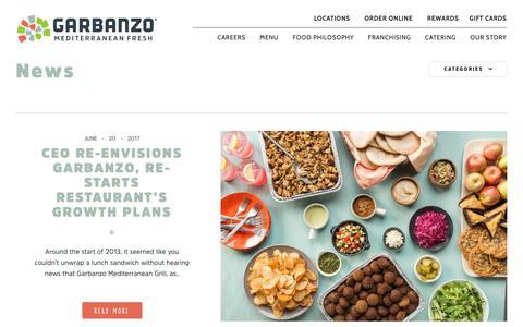 Screenshot of Press Page eatgarbanzo.com - News - Garbanzo - captured Sept. 27, 2018