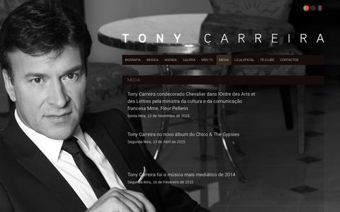 Screenshot of Press Page tonycarreira.com - Tony Carreira - Website Oficial - captured June 11, 2018