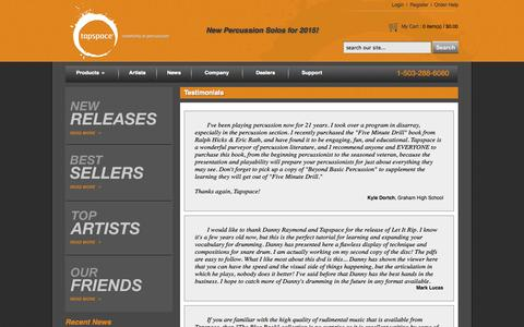 Screenshot of Testimonials Page tapspace.com - Tapspace - Creativity in Percussion - captured Oct. 10, 2014