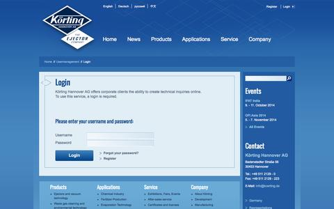 Screenshot of Login Page koerting.de - Login - captured Oct. 6, 2014