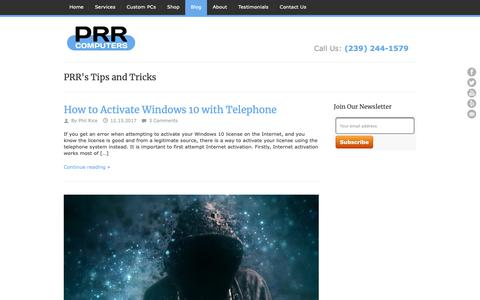 Screenshot of Blog prrcomputers.com - PRR's Tips & Tricks Blog | PRR Computers, LLC - captured Oct. 24, 2018