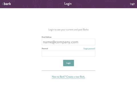 Screenshot of Login Page bark.com - Bark.com - Login - captured Oct. 5, 2014