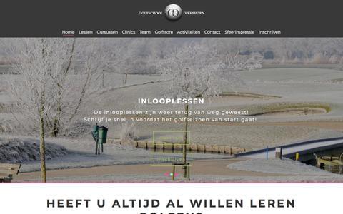 Screenshot of Home Page golfschool-dirkshorn.nl - Leren Golfen | Golfschool Dirkshorn - captured July 21, 2018