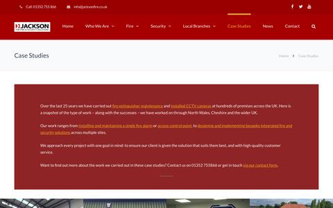 Screenshot of Case Studies Page jacksonfire.co.uk - Case Studies | Jackson Fire & Security - captured Oct. 13, 2018