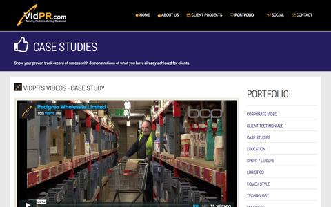 Screenshot of Case Studies Page vidpr.com - Case Studies Videos by VidPR Video Productions - captured Oct. 7, 2014
