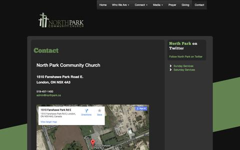 Screenshot of Contact Page northpark.ca - Contact | North Park - captured Feb. 15, 2016