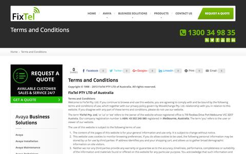 Screenshot of fixtel.com.au - FixTel Terms & Conditions: Avaya Telephone Systems | Phones - captured Oct. 2, 2015