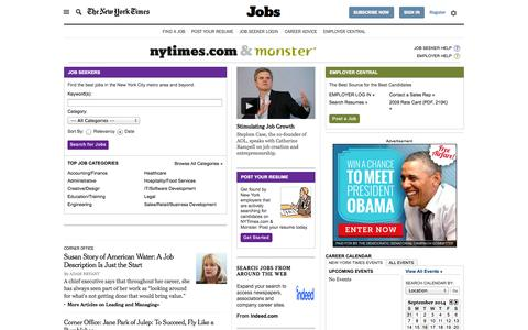 Screenshot of Jobs Page nytimes.com - Post a Job, Find a Job, Get Career Advice - Monster - The New York Times - captured Sept. 16, 2014