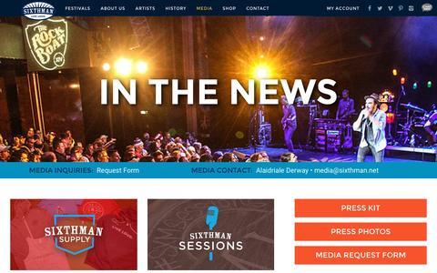 Screenshot of Press Page sixthman.net - Media - Sixthman - captured Dec. 1, 2015