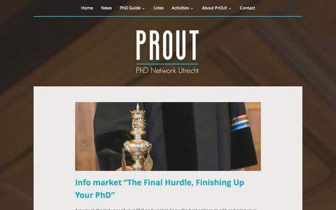 Screenshot of Press Page prout.nl - News   PrOUt   PhD Network Utrecht - captured Nov. 1, 2014