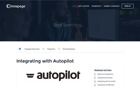 Screenshot of Support Page instapage.com - Integrating with Autopilot – Instapage Help Center - captured Nov. 9, 2018