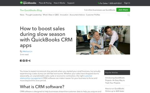 Screenshot of Press Page intuit.com - How to boost sales during slow season with QuickBooks CRM apps - QuickBooks - captured Nov. 21, 2019
