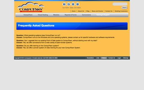 Screenshot of FAQ Page compupawn.com - CompuPawn - pawnshop software - Frequently Asked Questions - captured Sept. 30, 2014