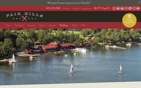 Screenshot of Locations Page fairhillsresort.com - Locations - Fair Hills Resort - captured Aug. 3, 2016