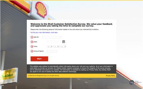 Screenshot of Landing Page shell.com - Shell Singapore Customer Satisfaction Survey - Welcome - captured Aug. 12, 2016