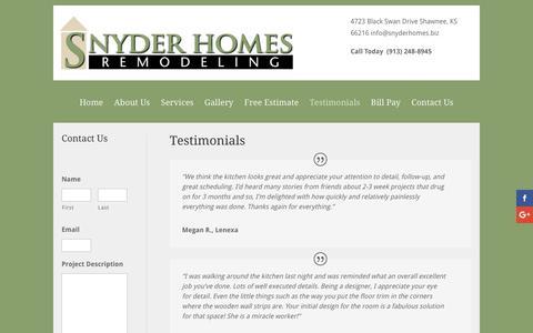 Screenshot of Testimonials Page snyderhomes.biz - Testimonials | Snyder Homes - captured Dec. 17, 2016