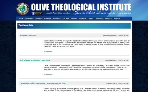 Screenshot of Testimonials Page oti.org.in - OTI News - captured Oct. 7, 2014