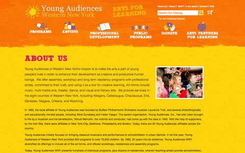 Screenshot of About Page yawny.org - About Us | Young Audiences WNY - captured Oct. 27, 2014
