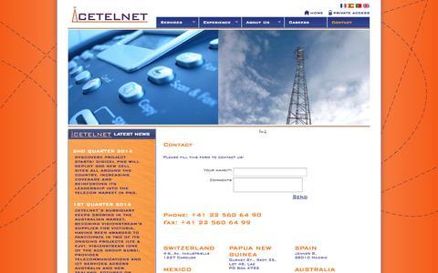 Screenshot of Contact Page cetelnet.com - CETELNET Expert communications infrastructure and technology solutions supplier - captured Oct. 2, 2014