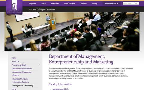 Screenshot of Team Page umhb.edu - Department of Management, Entrepreneurship and Marketing | University of Mary Hardin-Baylor - Belton, TX - captured Sept. 19, 2014