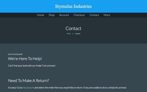 Screenshot of Contact Page stymulus.com - Contact • Stymulus Industries - captured Sept. 29, 2015