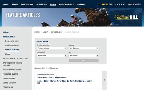 Screenshot of williamhillplc.com - William Hill PLC: Feature Articles                 - Newsroom                 - Media - captured Oct. 22, 2016