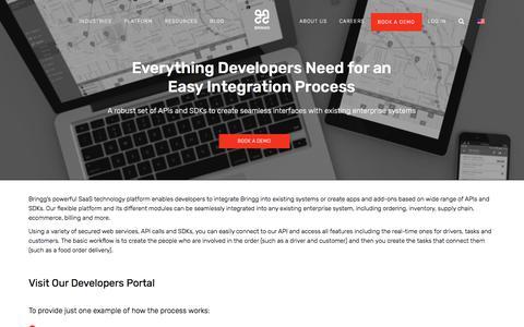 Screenshot of Developers Page bringg.com - Developers | Bringg - captured March 8, 2018
