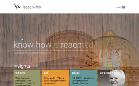 Screenshot of Home Page isaacwiles.com - Home - Isaac Wiles - Built from a carefully crafted merger between Wiles, Boyle, Burkholder & Bringardner and Isaac, Brant, Ledman & Teetor, the new Isaac Wiles is designed to provide solutions for a wide variety of legal challenges.    Homepage - captured Nov. 26, 2016