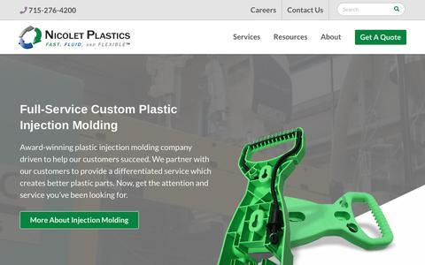 Screenshot of Home Page nicoletplastics.com - Plastic Injection Molding Manufacturer | Nicolet Plastics, Inc. - captured Feb. 5, 2019