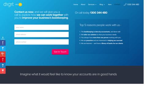 Screenshot of Contact Page digitbooks.com.au - Get Started with Digit for your Business Bookkeeping on Xero - captured Aug. 2, 2016