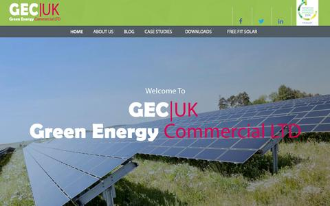 Screenshot of Home Page greenenergycommercial.com - Green Energy Commercial UK | Commercial Solar Energy - captured June 19, 2015