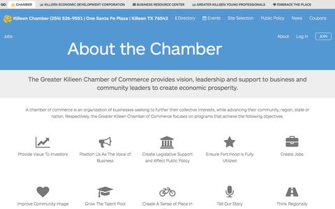 Screenshot of About Page killeenchamber.com - About the Chamber | Greater Killeen Chamber of Commerce - captured Feb. 2, 2016