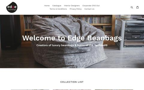 Screenshot of Home Page edgebeanbags.co.uk - Edge Beanbags - Creators of luxury beanbags and home of the Techbed - captured May 18, 2018
