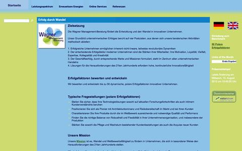 Screenshot of Home Page wagner-management-beratung.de - Wagner Management-Beratung - captured Sept. 30, 2014