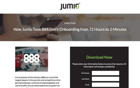 Screenshot of Landing Page jumio.com - How Jumio Took 888.com's Onboarding from 72 Hours to 2 Minutes - captured April 1, 2018