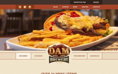 Screenshot of Menu Page dambrewery.com - Dillon Dam Brewery Menu - captured April 24, 2017