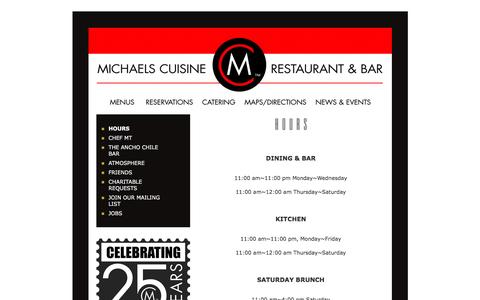 Screenshot of Hours Page michaelscuisine.com - Hours | Michaels Cuisine Restaurant & Ancho Chile Bar - captured April 16, 2017