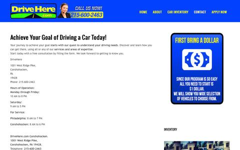 Screenshot of Contact Page drivehere.com - Contact | How to make deal with Buy Here Pay Here Car Deal program in Philadelphia - captured Feb. 9, 2016