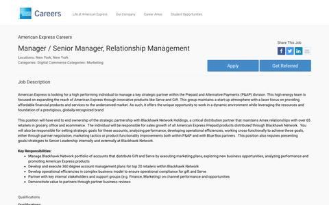 Screenshot of Jobs Page americanexpress.com - Apply For American Express Manager / Senior Manager, Relationship Management job - Digital Commerce, Marketing - New York, New York - captured Oct. 26, 2016